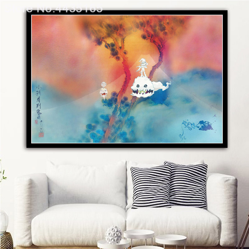 Us 198 27 Offdecorative Kanye West Kid Cudi Kids See Ghosts 2018 Album Poster Wall Art Picture For Living Room Home Decor Posters And Print In