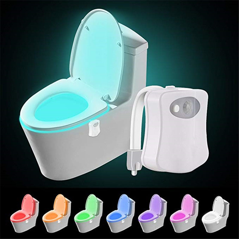8 Color Changes Smart PIR Colorful Motion Sensor Toilet Seat Night LED Body Motion Activated Sensor Toilet Light