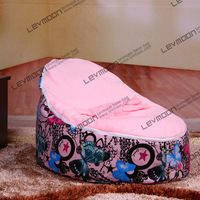 FREE SHIPPING Baby Seat Cover With 2pcs Bright Pink Up Cover Bean Bag Chair Baby Beanbag