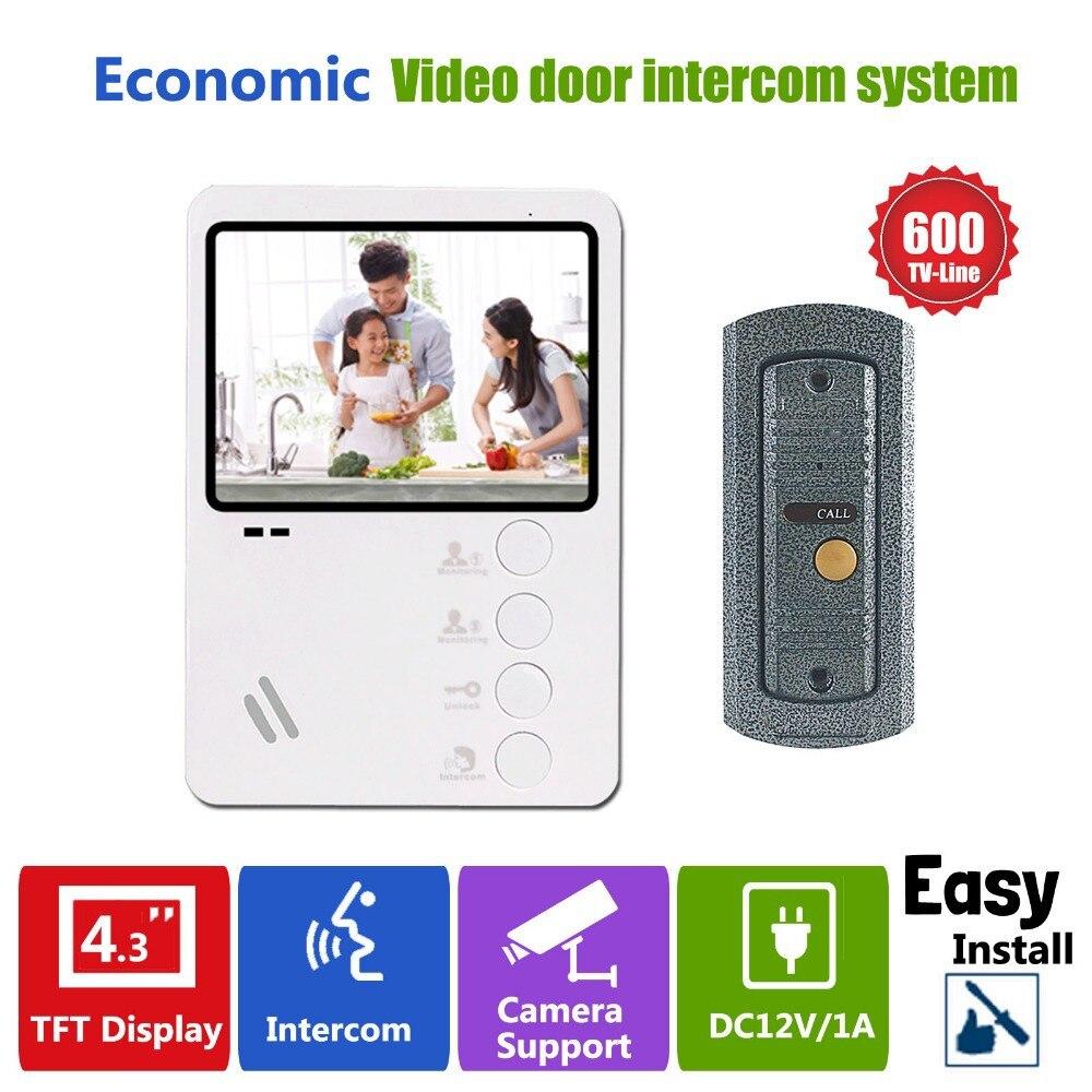 Homefong Video Doorbell System Door Intercom Phone 4 3 Inch Weatherproof Night Vision Outdoor Camera And