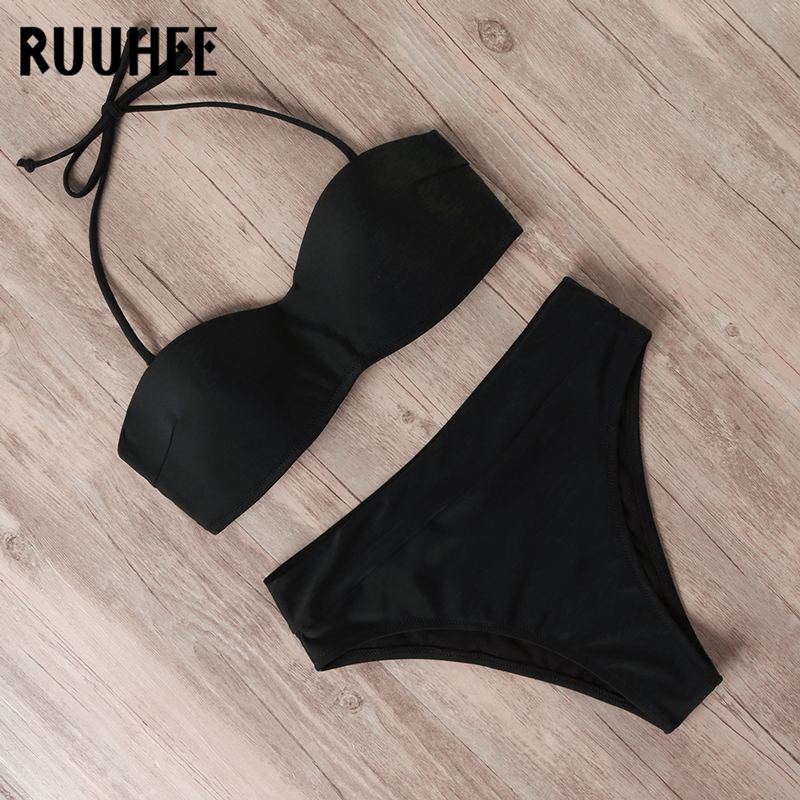 RUUHEE Swimsuit Push Up Bikini 2020 Women Swimwear Bandage High Waist Bikini Set Strap Detachable Bathing Suit Female Beachwear