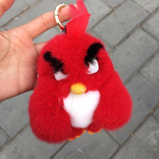 Piel De conejo Pom Pom Llaveros Mujeres fluffy Bunny Conejo de aves llavero Muñeca de Juguete Coche Monstruo Llavero Llavero Joyería regalo