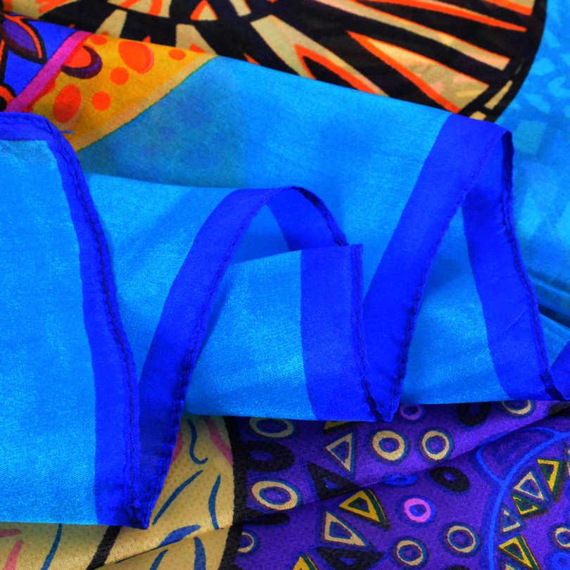 Brand Blue Ladies Long Silk Scarf Shawl 2017 Summer Fashion Beach Shawl Cover Ups Women Pure Silk Scarves Wraps Yellow Orange