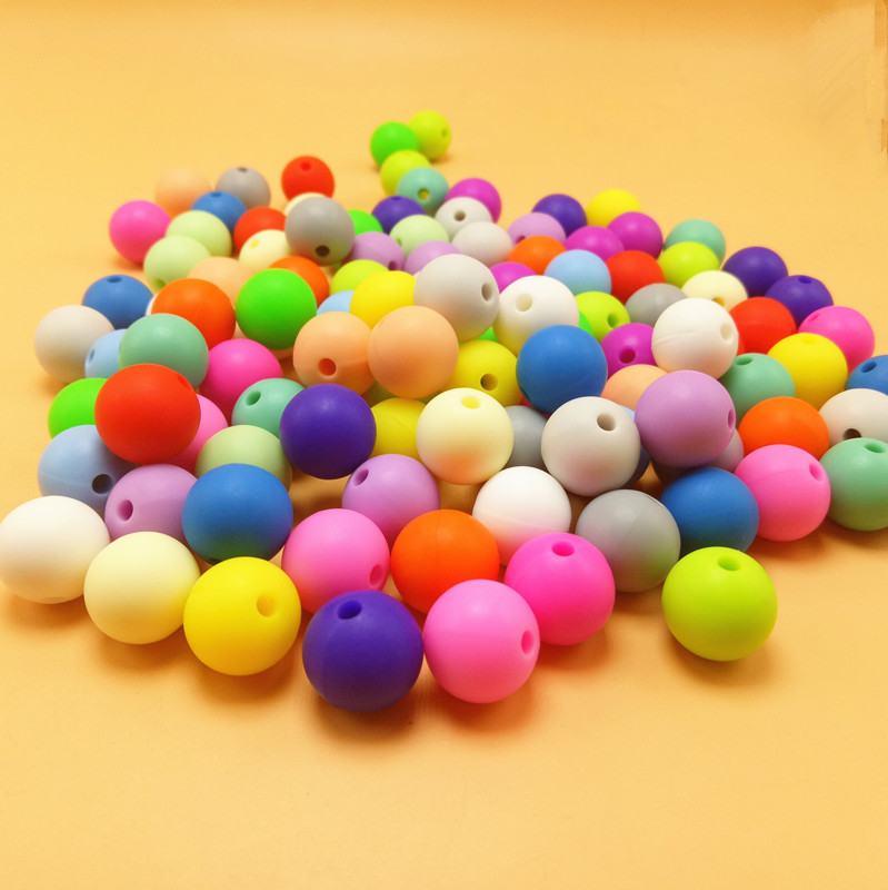 Wholoesale 500pcs lot 15MM Silicone Beads BPA Free Food Grade Baby Teether Beads Elastic Rubber Beads