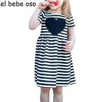 새로운 여름 스트라이프 사랑 심장 패턴 여자 드레스 스트라이프 짧은 소매 O 목 라인 공주 드레스 아이 드레스 XL160
