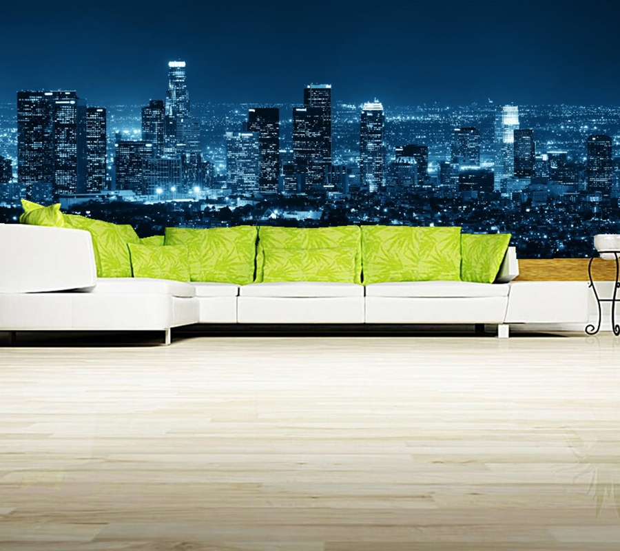 losangeles skyscraper night city wallpaper papel de parede restaurant living room tv sofa wall. Black Bedroom Furniture Sets. Home Design Ideas