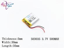 10pcs Liter energy battery Supply Polymer Lithium Battery 503035 500mah Lithium Polymer Battery Plus Board