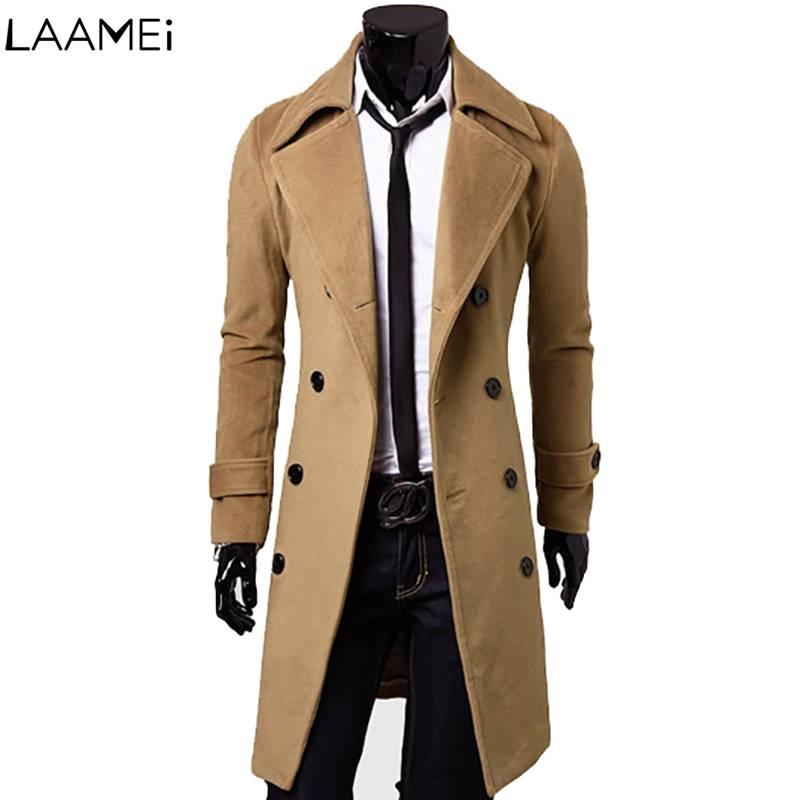 Laamei Autumn And Winter New Men's Fashion Long Woolen Coat 2018 Slim Casual Large Size Men's Coat Shirt Woolen Coat