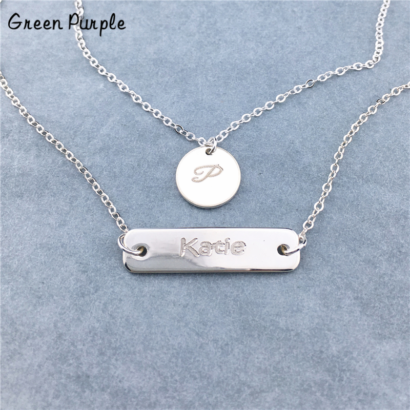 925 Silver Coin Necklace Custom Layered necklace Name Chocker Handmade Letter Jewelry Personalized Pendants Boho Kolye Necklace in Necklaces from Jewelry Accessories