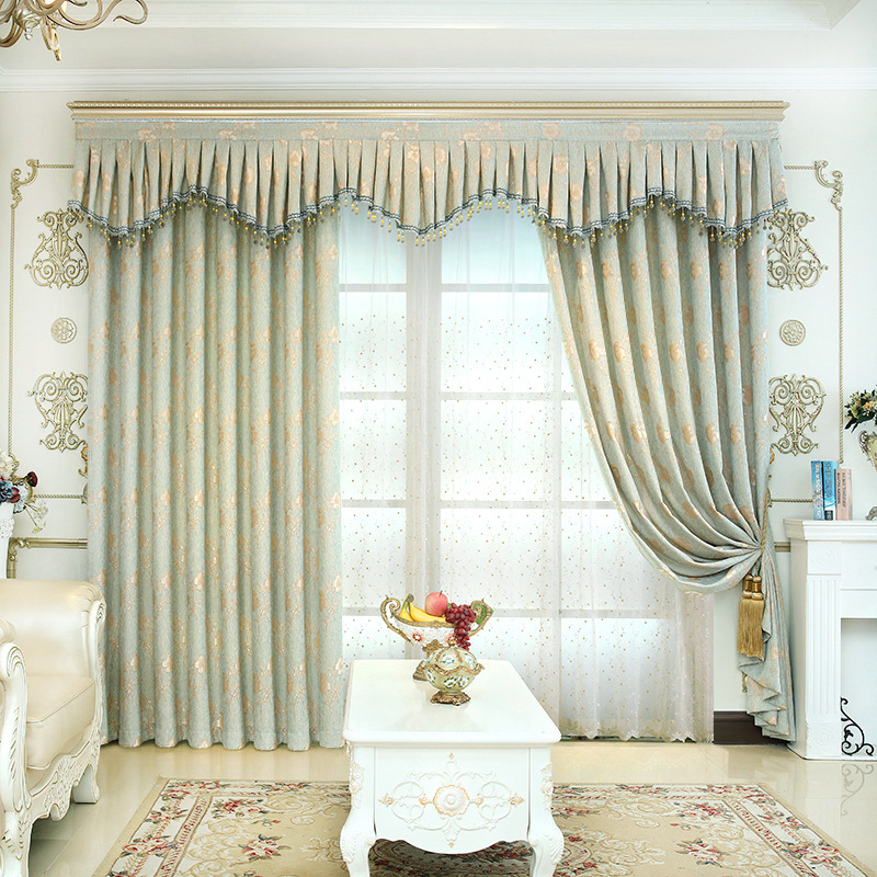 Curtain fabric factory direct European style jacquard curtain fabric wholesale included: 2 pieces curtain and 1 piece tulle