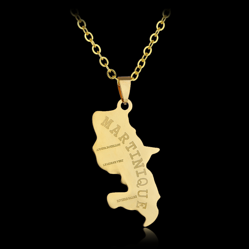 North America Martinique Map Stainless steel pendant necklace for Men/women Gold color worlds map necklace jewelry Gift