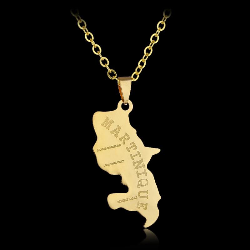 Ожерелье с подвеской в виде карты Мартиники из нержавеющей стали для мужчин и женщин, ожерелье золотого цвета с картой мира, Подарочная бижу...