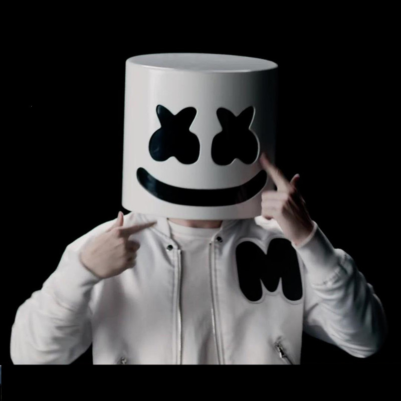 DJ Marshmello Cosplay Mask Full Face Latex Prop Helmet Masks Women Man Mask Party Bar Electronic Syllable Cosplay Accessories