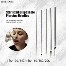 100pcs Disposable Steriele Piercing Naalden 12G/13G/14G/15G/16 g/18G/20G Piercing Accessoires Voor Navel Tepel Oor Neus Lip(China)
