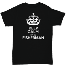 Keep Calm Im A FishER man Mens T Shirt Fish Birthday Funny Humour Print Short Sleeve Hot Tops Tshirt Homme