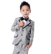 Четыре пьесы Дети костюм мальчики серебряный костюм детский костюм показать цветочница платье (куртка + брюки + рубашка + галстук-бабочка)