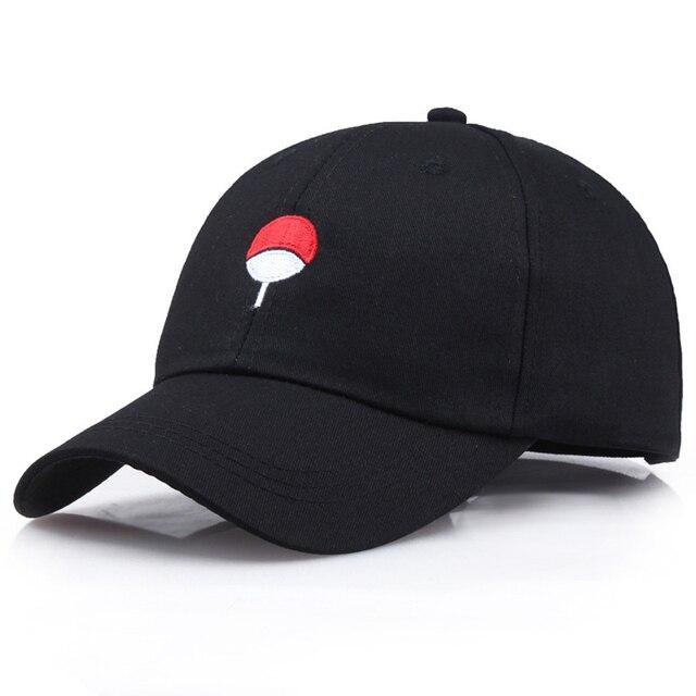 Fashion Style Japanese Anime Naruto Dad Hat Uchiha Family Logo Embroidery Baseball Caps Black Snapback Hat Hip Hop For Women Men
