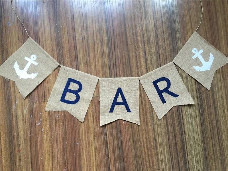 Vintage Bar Bunting Custom Wedding Burlap Anchor Garland Home Party Decor  Photo Nautical Party Anchor Nautical