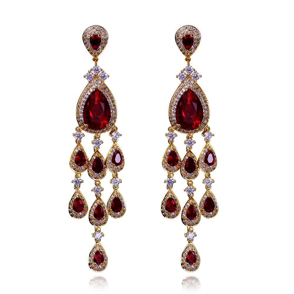 Ethnic Luxury Long Drop Earrings High Quality Cubic Zirconia Bohemian Style Earrings Women Fashion Jewelry