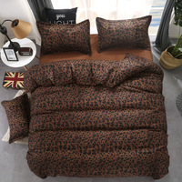 Fashion bedding set bed linen set leopard duvet cover bed sheet pillowcases black queen bedding set summer bed set pastoral home