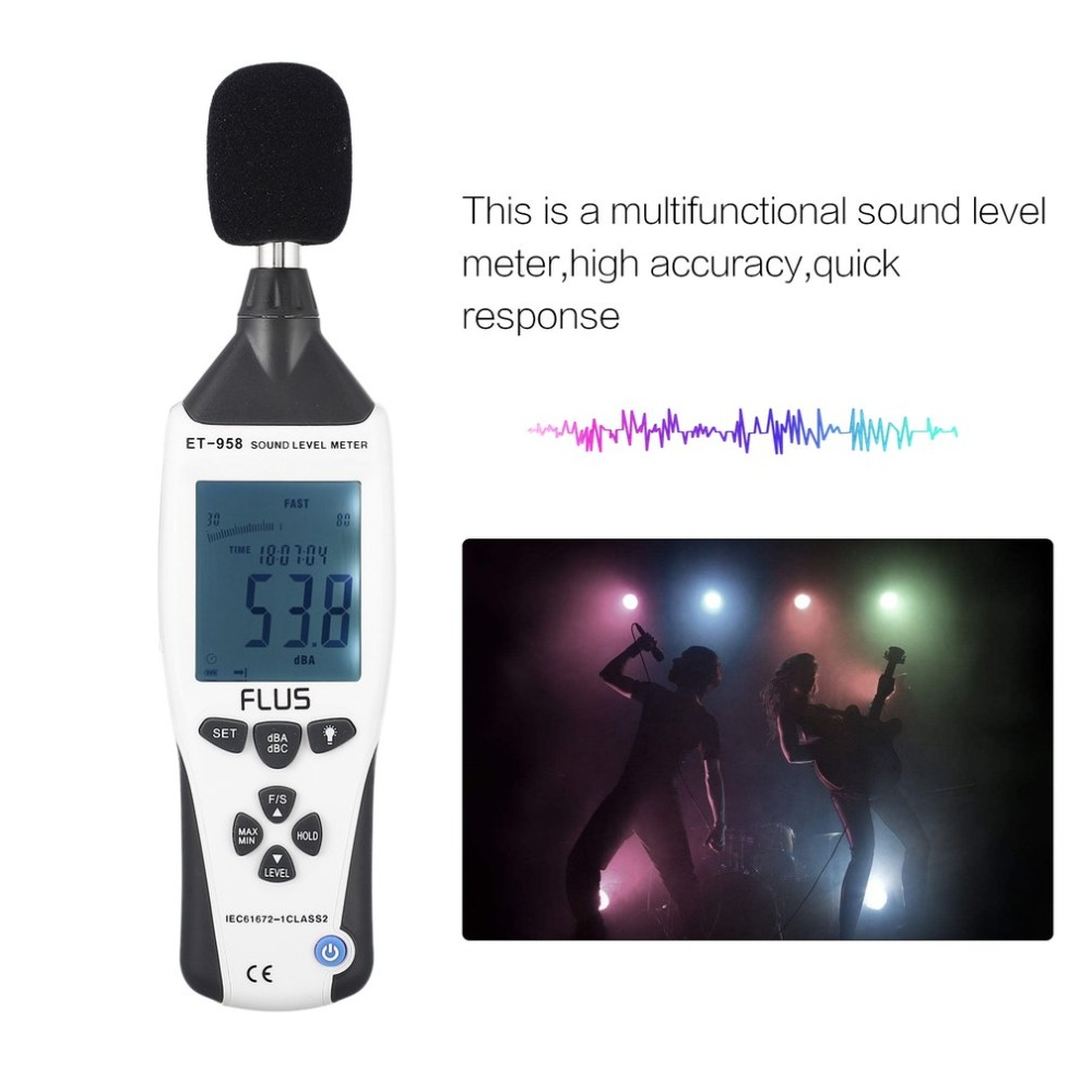 FLUS ET-958 Digital Sound Level Meter Noise Tester Decibel Logger Measurement Audio Detector Volume Monitor 30-130dB HandheldFLUS ET-958 Digital Sound Level Meter Noise Tester Decibel Logger Measurement Audio Detector Volume Monitor 30-130dB Handheld