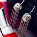 Moda Brincos De Casamento De Luxo 925 Prata Brincos Longos Borla Brincos de Prata Esterlina Para Mulheres Jóias Acessórios