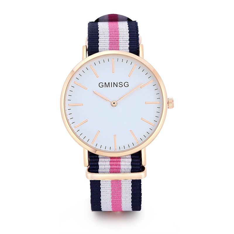 GMINSG Luxury Brand Rose Gold Silver Men Women Watches Leather Nylon Quartz Wrist Watch Unisex Clock Relogio Masculino classic luxury formal unisex dress quartz men women wrist watch rose golden metallic strap decorational subdial gift box