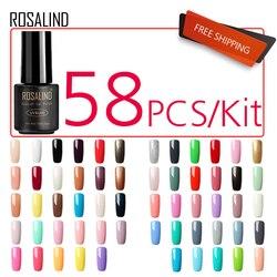 (58PCS/LOT) ROSALIND 7ML Gel Nail Polish Nail Art Semi Permanent Gel Varnish UV LED Soak off White Gel Lacquer Set for manicure
