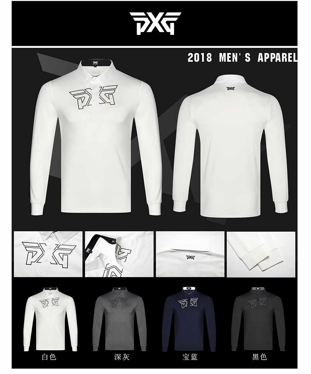 Men'S PXG Golf clothes shirts Autumn Long Sleeve Golf T Shirt Breathable Sports 4colors Clothes Polo Shirts Free shipping pxg golf shirts 4 colors autumn long sleeve golf t shirt button breathable sportswear men s polo shirts striped tops shirt