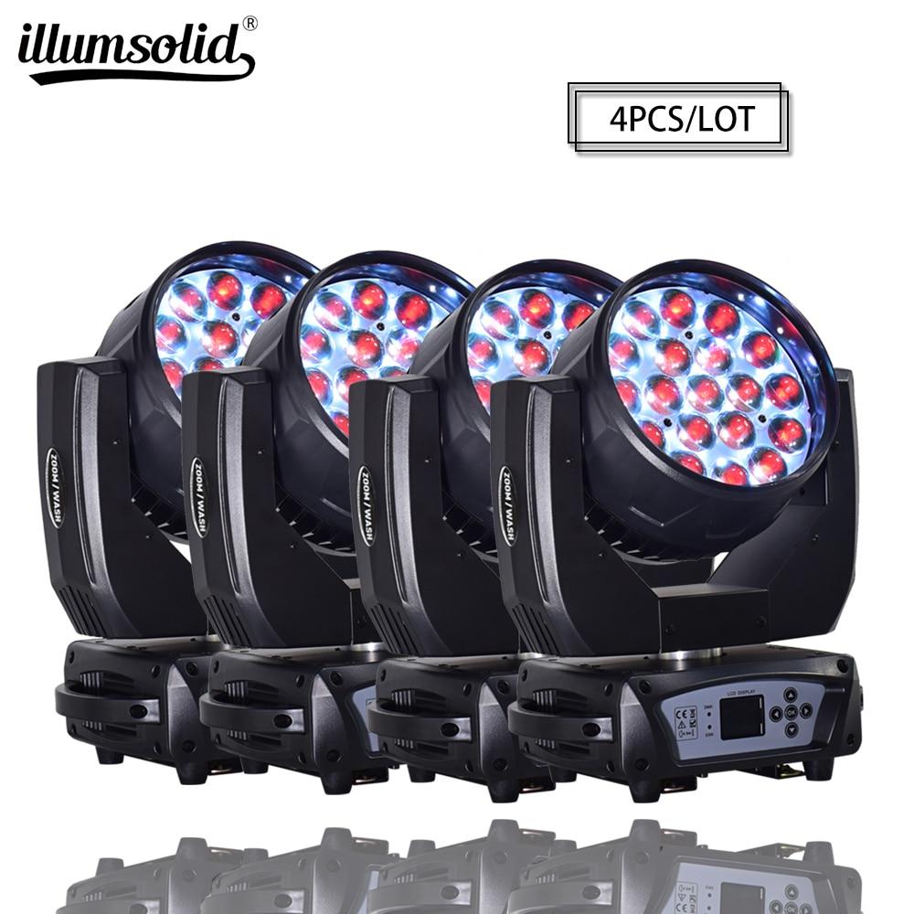 19x15w RGBW 4N1 Zoom DMX512 Led Moving Head Wash Effect Professional Lighting 4pcs/lot