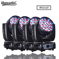 19x15w RGBW 4N1 Zoom DMX512 Led Moving Head Wash Effect Professional Lighting 4pcs/lot