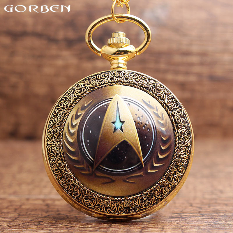 Retro Golden Star Trek Theme Pocket Watch With FOB Chain Luxury Fashion Starfleet Command Logo Quartz Pocket Watch Necklace Gift unique smooth case pocket watch mechanical automatic watches with pendant chain necklace men women gift relogio de bolso