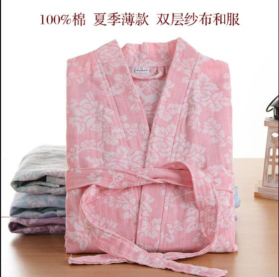 100% Cotton and Gauze Robe Man&Woman long sleeve Bathrobe