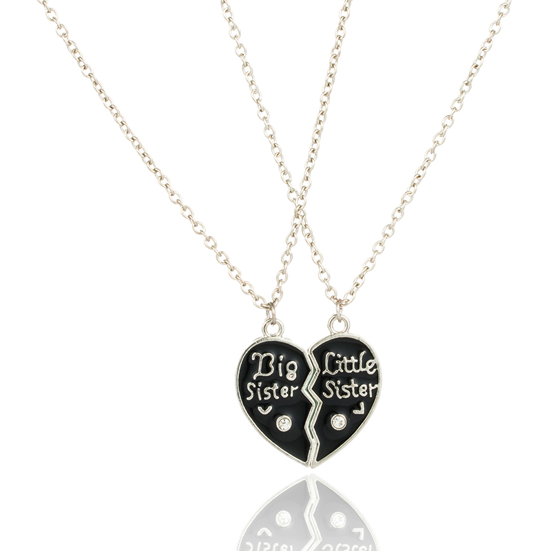 Fashion Funny Sisters Twins Best Frends Patchwork Heart Pendant Necklace Set for Women 2018 New Trendy Chain Choker by the Neck