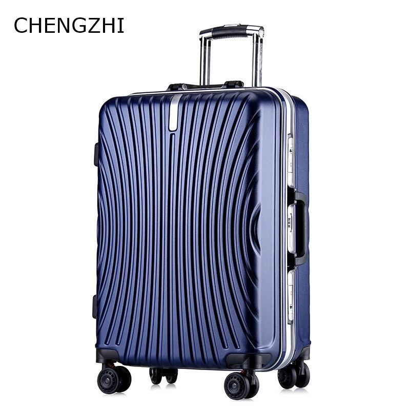 CHENGZHI 20 24Inch grote capaciteit reizen koffer PC effen kleur mute caster rolling bagage menwomen trolley tas met wielen