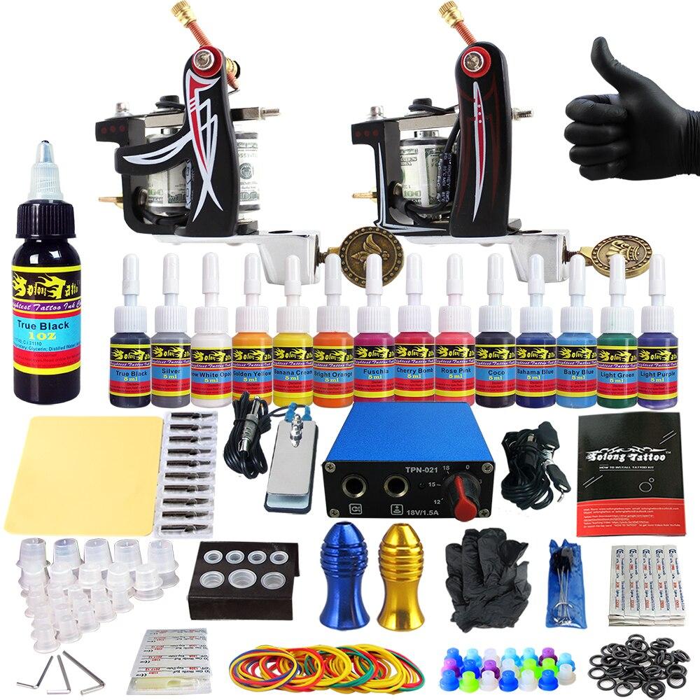 Solong Tattoo Complete Tattoo Kits 2 Machine Gun Beginner Tattoo Set 14 Inks Needle Grips Foot Petal Power Supply TK203-10