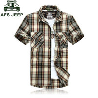 3XL 4XL 5XL 2015 Summer Green Plaid Men Fashion Cotton Short Sleeve Dress Shirts Camisa Hombre