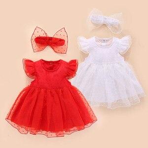 Verão vestido de bebê recém-nascido princesa estilo vermelho branco algodão rendas bebê vestido de casamento batismo roupas do bebê para festa de aniversário do bebê