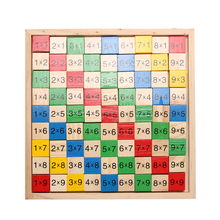 Math Dominoes Toy Double Side Multiplication Table Pattern Printed Montessori Board Children Educational Kids Wooden Math