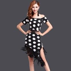 Милые девушки 2016 Женская Одежда для танцев костюм для сальсы Комплект из 2 предметов в горошек Для женщин бальных танцев платья бахрома