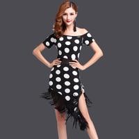 Lovely Girls 2016 Women Dance Wear Salsa Costume 2 Pieces Set Dot Pattern Women Ballroom Dance Dresses Fringe Latin Dress