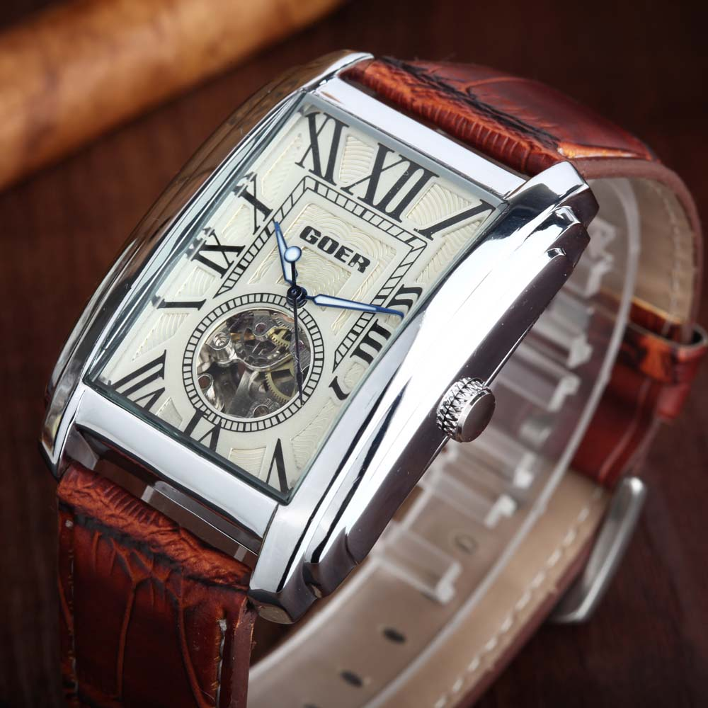 цена на Relogio Masculino GOER Top Brand Luxury Skeleton Watches Men Leather Band Rectangle Automatic Mechanical Wrist Watches For Men