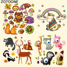 ZOTOONE Cute Animal Set Iron on Heat Transfer Patches for Kid Clothing Butterfly DIY Stripes Applique T-shirt Custom Sticker E