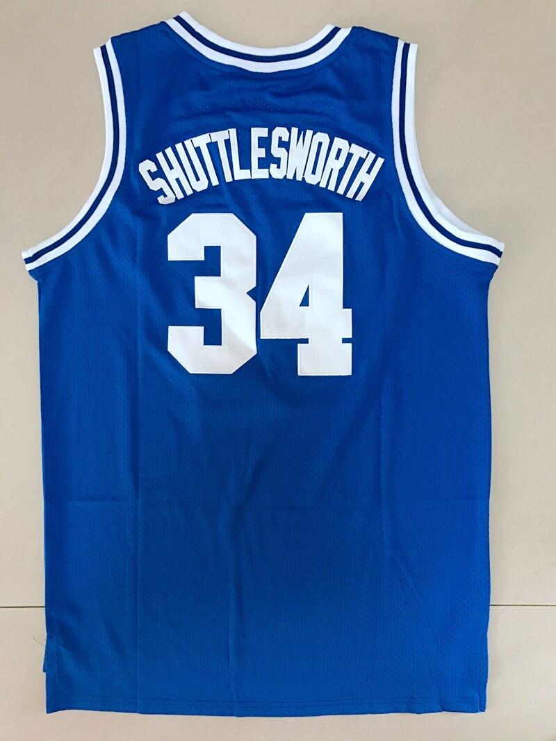 Jesus Shuttlesworth #34 Lincoln Pallacanestro Jersey He Got Gioco Tutto Cucita Movie Pallacanestro Jersey di Colore Blu Bianco