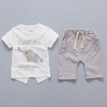2019 Baby Boys Sets Summer Boys Sets Clothes T Shirt+Short Pants Cotton Sports Elephant Pattern Printed Set Children Suit 80-110 стоимость