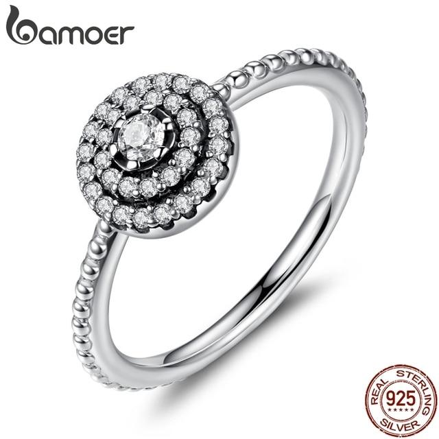 BAMOER 925 Sterling Silver Round Shape Radiant Elegance, Clear CZ Flower Finger