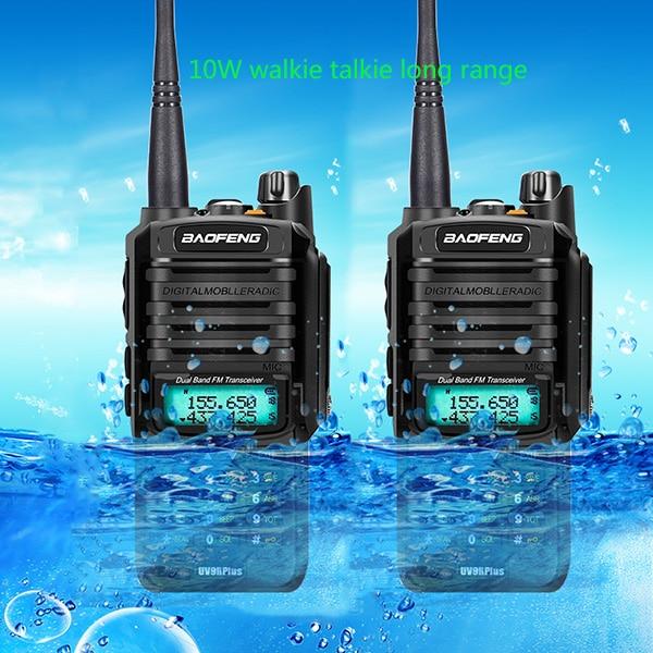 2pcs 4800mah 10W Baofeng UV 9R plus waterproof walkie talkie for CB ham radio station 10