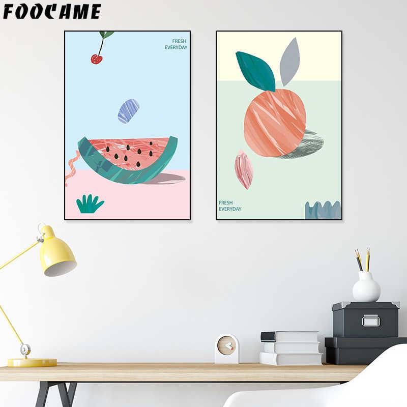 FOOCAME pastèque pêche fruits affiches et impressions Art toile peinture décoration mur photos salon chambre décoration
