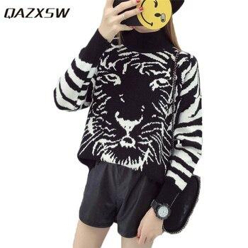 QAZXSW 2019 nuevo suéter de primavera para mujeres de talla grande Casual Tiger jerséis de impresión manga larga Harajuku suéter de cuello alto chica HB594