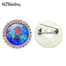 2017 New jewelry brooch Pin Beauty and the Beast crystal brooches Round Rose Flower brooch pins jewelry for women
